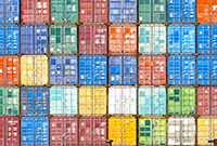 Large wall of colourful stacked containers