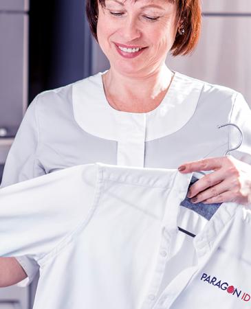 cleaner holding uniform