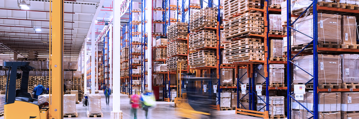 warehouse holding boxes and pallets