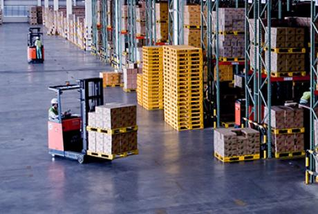 Warehouse with forklift truck